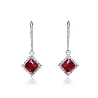 Collette Z Sterling Silver Red and White Cubic Zirconia Square Drop Earrings