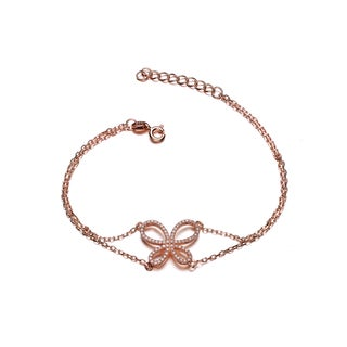Collette Z Rose Goldplated Sterling Silver Cubic Zirconia Bow Tie Bracelet