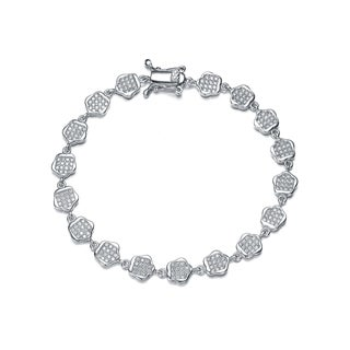 Collette Z Sterling Silver Cubic Zirconia Pave-set Flower Bracelet