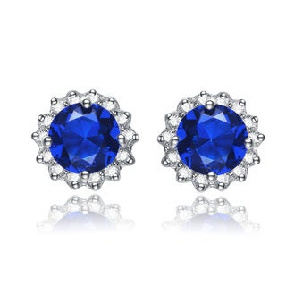 Collette Z Sterling Silver Blue and white Cubic Zirconia Flower Shape Earrings
