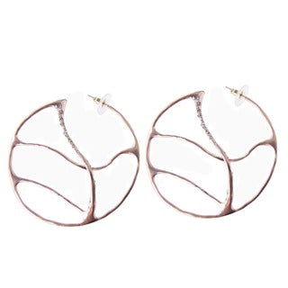 De Buman 18k Rose Gold Plated and Crystal Silver Shade Earrings