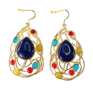 De Buman 18k Gold Plated and Lapis Beautiful Earrings