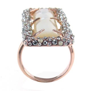 De Buman 18k Rose Gold Plated White Shell Ring