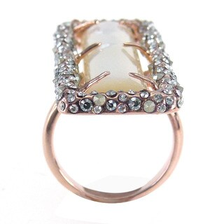 De Buman Rose Gold Plated White Shell Ring