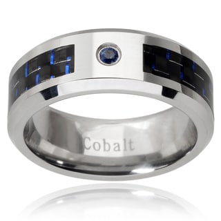 Men's Cobalt Sapphire Carbon Fiber Inlay Band (8 mm)