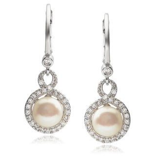 Journee Collection Sterling Silver Cubic Zirconia Faux Pearl Earrings