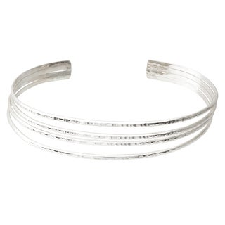Journee Collection Sterling Silver Handcrafted Cuff Bracelet