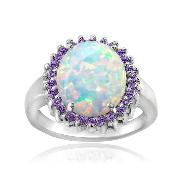 Glitzy Rocks Sterling Silver Created Opal and Gemstone Ring