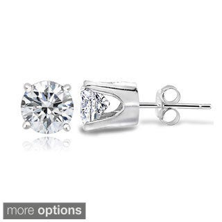 Icz Stonez 14k Gold 100 Facets 7/8ct TGW Cubic Zirconia 4mm Round Stud Earrings