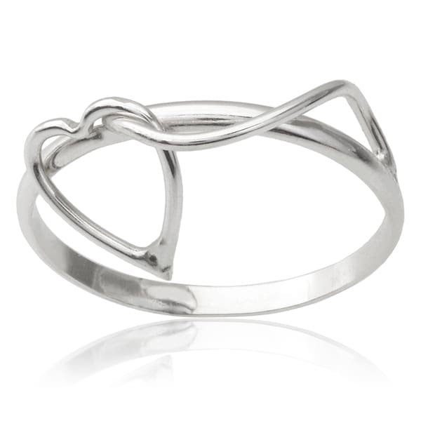Journee Collection Sterling Silver Handcrafted Heart Ring