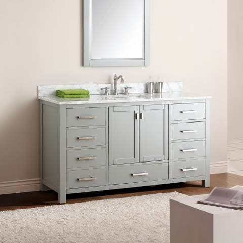 Avanity Modero 61-inch Single Vanity Combo in Chilled Gray with Top and Sink
