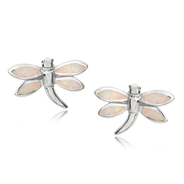 Journee Collection Sterling Silver Gemstone Dragonfly Earrings