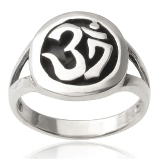 Journee Collection Sterling Silver Om Sign Ring