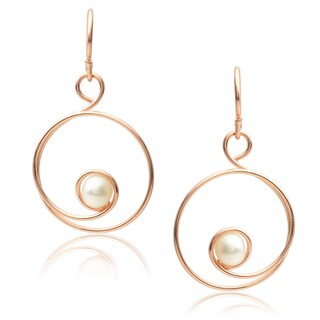 Journee Collection Sterling Silver Faux Pearl Handcrafted Spiral Earrings