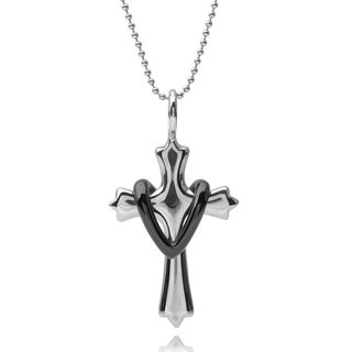 Vance Co. Men's Stainless Steel Skull Cross Pendant