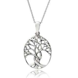 Journee Collection Sterling Silver Tree of Life Pendant