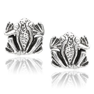 Journee Collection Sterling Silver Frog Stud Earrings