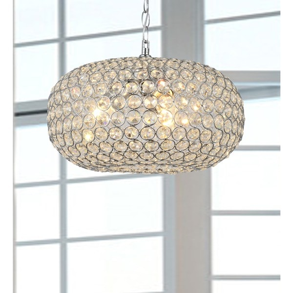 Francisca Oval-shaped Crystal and Chrome 3-light Chandelier - Free ...