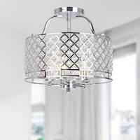 Evelyn Chrome and Crystal Ceiling Flush-mount Chandelier