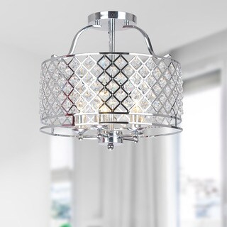 Evelyn Chrome and Crystal Flush-mount Ceiling Chandelier