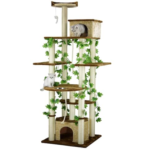 Go Pet Club Beige/Brown Sisal/Wood 85-inch Cat Tree and Feeder Condo