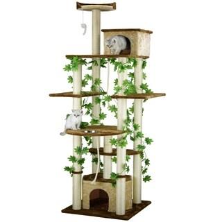 Go Pet Club Beige/Brown Sisal/Wood 85-inch Cat Tree and Feeder Condo