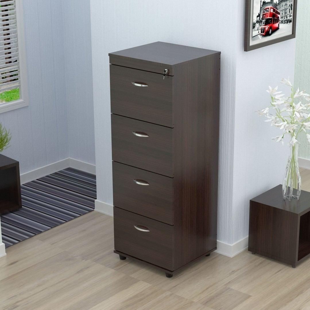 Inval Wenge 4-drawer File (Four Drawer Locking File Cabin...