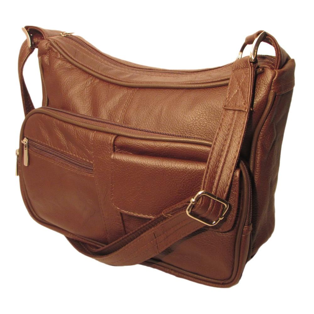 Genuine Top Grain Leather Concealed Carry Shoulder Messenger Bag Ccw