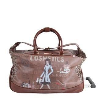 Nicole Lee Cosmetics Print Rolling Duffel Bag