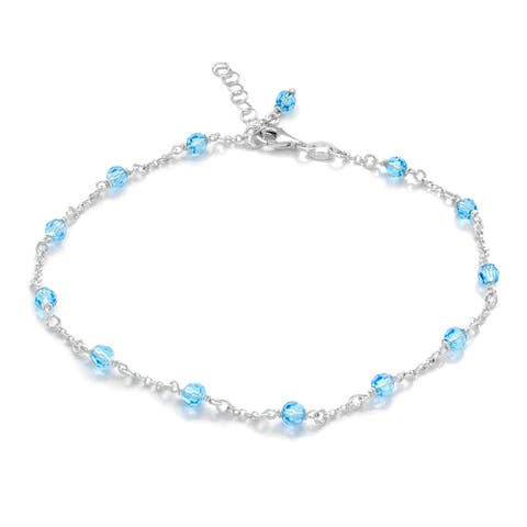 Sterling Essentials Silver Crystal Beaded Anklet