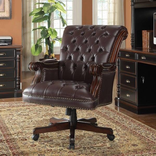 "Coaster Company Dark Brown Vinyl Adjustable Executive Office Chair - 37.50"" x 29.50"" x 42.50"""