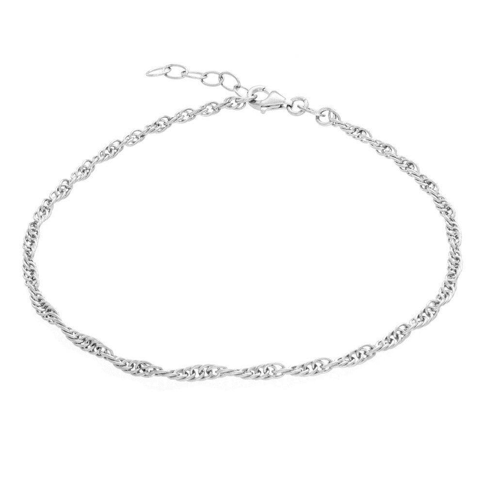 Sterling Silver French Rope Chain Anklet (Silver Anklet),...