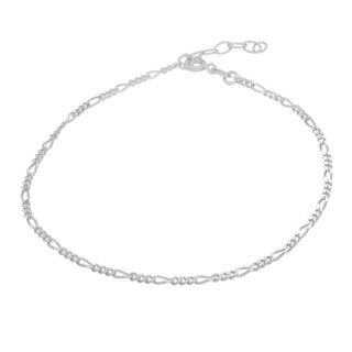 Sterling Essentials Sterling Silver Figaro Chain Anklet