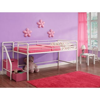 Dhp Junior Pink And White Twin Loft Bed With Storage S
