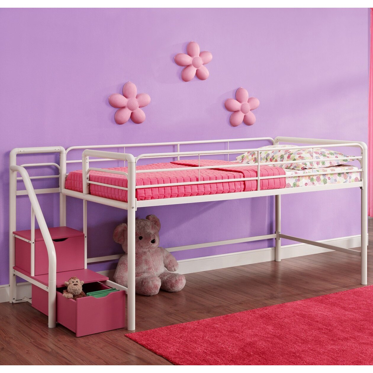 DHP Junior Pink and White Twin Loft Bed with Storage Step...