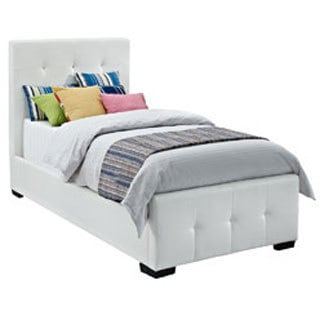 DHP Florence White Upholstered Twin Bed
