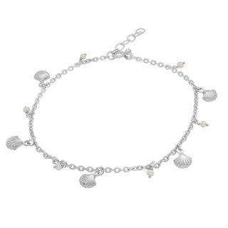 Sterling Essentials Sterling Silver Cultured Pearl and Seashell Charm Anklet