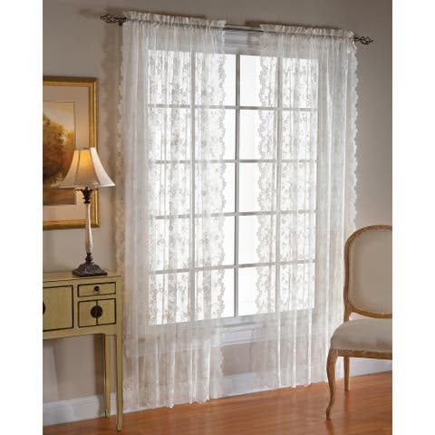 Saturday Knight Lace Flowers Curtain Panel Pair