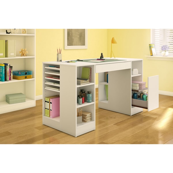 South shore crea collection pure white craft hobby and for South shore artwork craft table with storage pure white