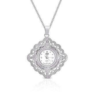 JWI Women's Diamond Accent Stainless Steel Caseback Pendant Watch
