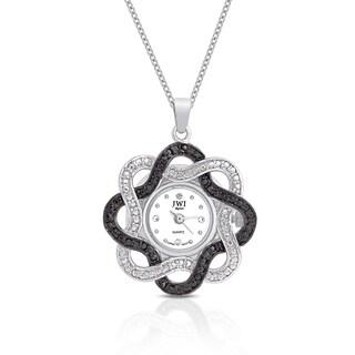 JWI Women's Silver Overlay Diamond Accent Stainless Steel Caseback Pendant Watch
