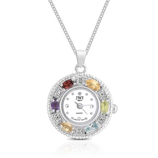 JWI Women's Gemstone and Diamond Accent Stainless Steel Caseback Pendant Watch
