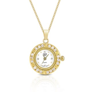 JWI Women's Gold Overlay Cubic Zirconia Stainless Steel Caseback Pendant Watch