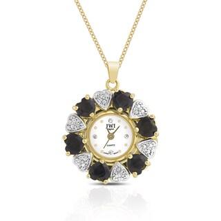 JWI Women's Gold Overlay Gemstone and Diamond Accent Stainless Steel Caseback Pendant Watch