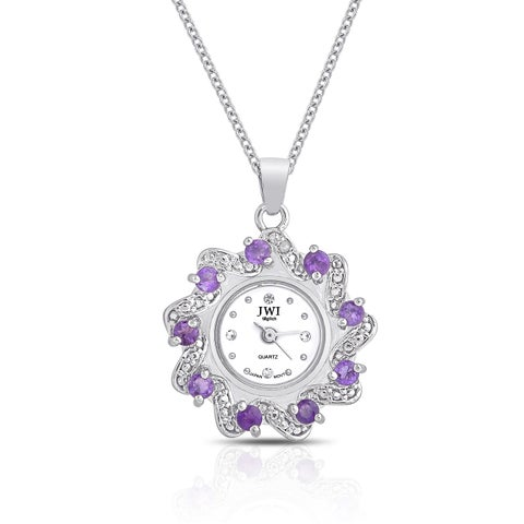 JWI Women's Gemstone and Diamond Accent Stainless Steel Caseback Pendant Watch