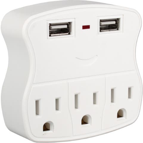 QVS 3-Outlets Wallmount Power Strip with Dual-USB 2.1Amp Charging Ports