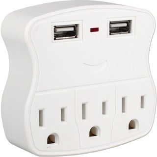 QVS 3-Outlets Wallmount Power Strip with Dual-USB 2.1Amp Charging Por