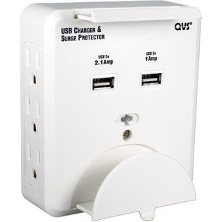 QVS Wallmount Power Block with Dual-USB Ports