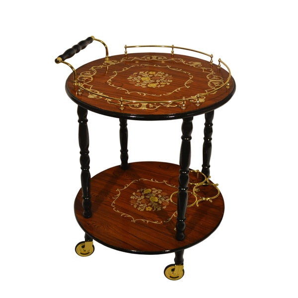 Sorrento Inlaid Wood Inspired Two-tier Beverage Serving Cart and Wine Bottle Slots