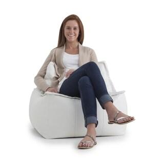 BeanSack Big Joe 3-in-1 Zip It Vegan Leather Bean Bag Chair/ Ottoman
